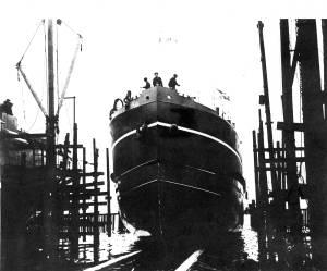Launch of MV 'Babinda' (University of Glasgow archives)