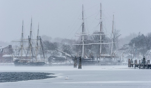 Ships 'Joseph Conrad' & 'Charles W Morgan' at Mystic Seaport – Feb 2015