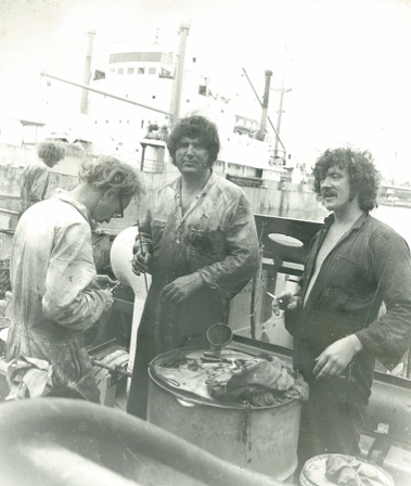 Warwick Turner (centre)-early 1970s aboard WARATAH